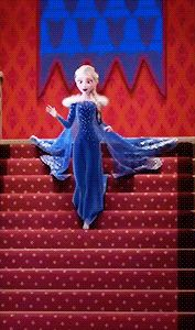 Of course Elsa has to make a grand entrance she is the Queen lol