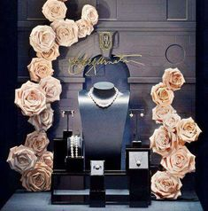 A carefully curated gallery of creative jewelry display ideas you can use for your home, store or window displays or even for photography purposes. Jewelry Store Displays, Jewelry Store Design, Store Window Displays, Jewellery Display, Jewelry Shop, Jewelry Stores, Jewelry Ideas, Retail Displays, Shop Displays