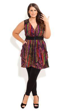 City Chic - RAINBOW SERPENT TUNIC - Women's plus size fashion