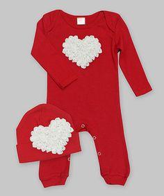 Love this Red & White Heart Romper & Beanie - Infant by Tesa Babe on #zulily! #zulilyfinds