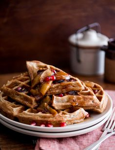 Apple Cider Waffles with Sauteed Apples & Pomegranates