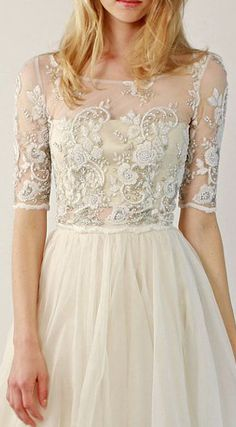 Beaded lace wedding top separate - Fontaine Half-Sleeve
