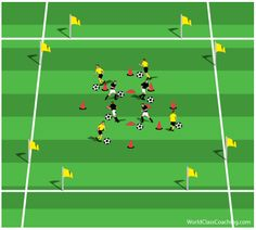 'The Great Escape' Game to develop Starting Speed This exercise is a great way to develop ability to accelerate and sprint over short and medium distances. Its organisation ensures the players are engaged and not only develop physical aspects but also dribbling and running with the ball skills. The practice helps players in possession to get away from a defender, while defender works on sprinting in recovery runs. 'The Great Escape' game works with almost every age group and ability level!