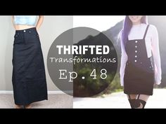DIY Overall Dress, Thrifted Transformations Ep. In this episode I transform an outdated black denim skirt into a button down overall dress! This took me 1 day to make. The only additional items bought were the buttons. Thrift Store Diy Clothes, Diy Clothes Refashion, Thrift Store Refashion, Mode Blog, How To Make Clothes, Making Clothes, Clothing Hacks, Overall Dress, Second Hand