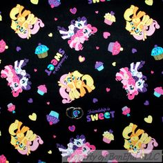 BonEful FABRIC Cotton Quilt B&W Pink MY LITTLE PONY Girl Heart Horse Sale SCRAP #Unbranded