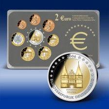 2 Euro Gedenksatz Deutschland Holstentor 2006