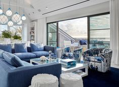 Beautiful Blue Living room decor with blue floral armchairs and blue sectional sofa, beach house decor, costal decor. Beach Living Room, Blue Living Room Decor, Home Living Room, Living Room Designs, Blue Sectional, Living Room Sectional, Beach House Furniture, Beach House Decor, Home Decor