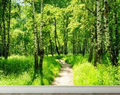 Parete murale foresta e sole buccia e bastone di RoyalWallSkins