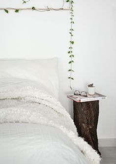 Style the tree trunk into a night stand
