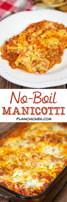 No-Boil Manicotti - cheese stuffed manicotti noodles baked in a quick meat sauce. No need to precook the pasta! It cooks with everything else! This is SO good and SOOO easy! Everyone gobbled it up! Serve with a salad and crusty garlic bread for a easy weeknight meal.