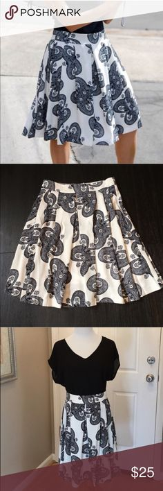 "Relished Paulene Skirt These are a NWT Paulene Swing Skirt by Relished in a beautiful black and white pattern. Features include an a-line hem, fully lined and a hidden back zipper. These run a little small, please see measurements. Material is 100% polyester. Small- waist is 13"" across, length is approx. 22"". Large- waist is 15"" across, length is approx. 23"". ⚜Please see my ""reasonable offers"" listing at the top of my page before submitting an offer⚜Thank you Relished Skirts A-Line or Full"