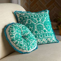 Embroidered Indian Floral Cushions | National Geographic Store