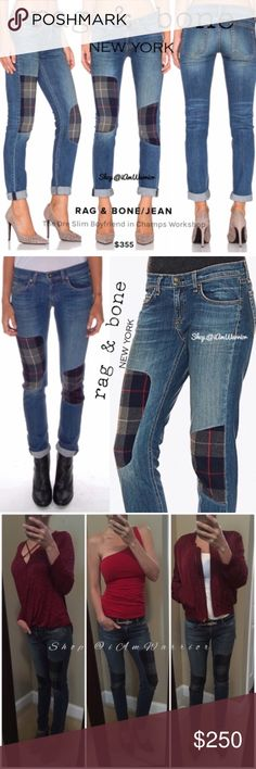 "🆕Rag & Bone skinny boyfriend plaidpatch jeans 🆕Amazing, highly coveted, SOLD OUT everywhere Rag & Bone dre slim / skinny Champs workshop plaid patch boyfriend jeans. This style combines BOTH the relaxed upper portion (boyfriend style) & the slender leg taken from a skinny silhouette. 30"" inseam, great fit/style. You won't find these anywhere!!   ❗Please READ my bio regarding my closet policies PRIOR to inquires/offers. Please refrain from spam, negative comments & lowball offers. rag…"