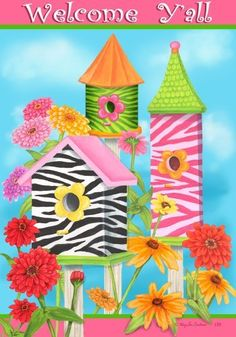 Welcome Y All Zebra Birdhouse Floral Garden Flag 12 x 18 by Custom Decor. $11.49. Permanently Dyed. 100% Polyester. Fade Resistant. Measures 12 x 18. New for 2013. Zebra Birdhouse Flag designed by Mary Lou Troutman for Custom Decor. The flag features a trio of brightly colored zebra stripe birdhouses with floral accents. The flag reads Welcome Y All. Custom Decor takes original artwork and reproduces it on 300 denier polyester fabric for a finer quality flag. T...