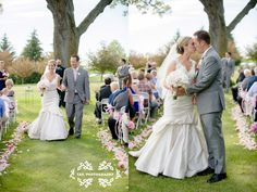 TAK Photography, LLC 2014 | Outdoor wedding, petal lined aisle, country club wedding, pink gray and navy wedding