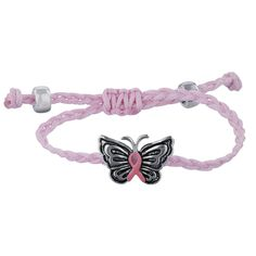 Pink Ribbon Butterfly Adjustable Cord Bracelet at The Autism Site