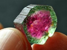"I love this stone; this is a perfect specimen too. Looks good to eat :) ""Watermelon Tourmaline"""