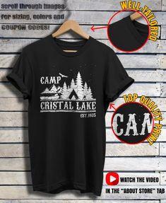 5aab48e0ed56 Camp Crystal Lake Shirt Friday The T-shirt Vintage Horror Movie Shirt Camp  Counselor Shirts Tsh