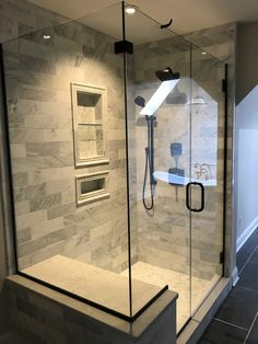 Hampton Carrera Marble Tile; Oil Rubbed Bronze Shower Fixtures #bathroomredesign