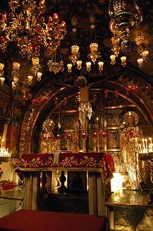 Church of the Holy Sepulchre, Old Jerusalem- traditional spot where Jesus was crucified and possibly buried.