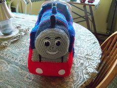 Crocheted Thomas the Train.
