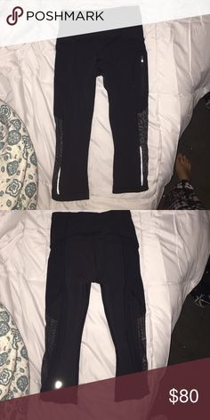 Lululemon size2 crop leggings w/ mesh detail Black crop lulu crop leggings size 2. Been worn one time. Bottom of leggings have a mesh area lululemon athletica Other