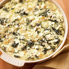 Spinach & Feta Casserole For a super easy dinner or brunch idea, combine eggs, cottage cheese, spinach, and feta cheese -- along with a few other ingredients -- and then bake until set. Vegetarian Casserole, Vegetable Casserole, Vegetable Dishes, Casserole Recipes, Vegetarian Recipes, Cooking Recipes, Healthy Recipes, Spinach Casserole, Sausage Casserole