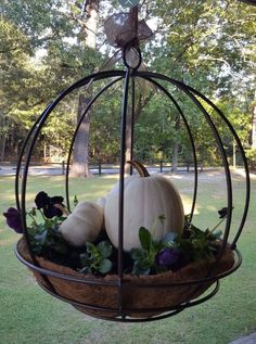 fall decor ideas for the porch outdoor spaces Best farmhouse porch landscaping outdoor spaces ideas Fall Hanging Baskets, Hanging Flower Pots, Hanging Planters Outdoor, Hanging Plants, Hanging Chair, Pumpkin Planter, Pumpkin Garden, Deco Champetre, Fall Containers