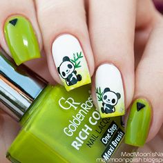 Image via Panda nail art designs Image via How to Create Cute Panda Nail Art Image via Panda nails! Image via Nail Art Water Decals Transfers Sticker Lovely Panda Bamboo Panda Nail Art, Animal Nail Art, Nail Art For Kids, Cool Nail Art, Cute Nails, Pretty Nails, Kawaii Nails, Girls Nails, Tips & Tricks
