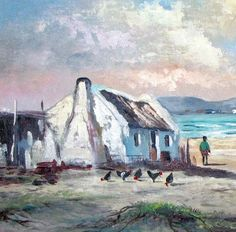 Arniston 2 - Another fine oil painting by Vincent Olivier Building Painting, Building Art, Canvas Painting Projects, Canvas Art, Seascape Paintings, Landscape Paintings, Oil Paintings, Landscapes, South African Artists