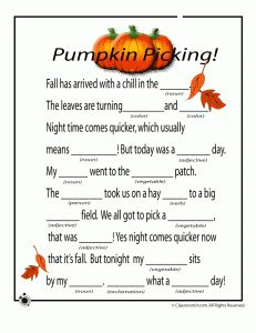 Fall Mad Libs for Kids Fall Mad Libs - Pumpkins – Classroom Jr. Thanksgiving Mad Lib, Thanksgiving Activities, Halloween Activities, Holiday Activities, Activities For Kids, Speech Activities, Educational Activities, Preschool Activities, Holidays Halloween
