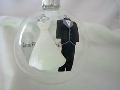 Wedding Christmas Ornament Handpainted Personalized. $10.00, via Etsy.