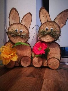 Osterdeko Osterdeko Best Picture For Easter Decorations for mantel For Your Ta Wood Log Crafts, Wood Slice Crafts, Spring Crafts, Holiday Crafts, Christmas Crafts, Easter Garden, Wood Animal, Wood Creations, Nature Crafts
