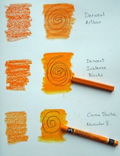 Derwent Artbars, Derwent Inktense Blocks and Caran D'ache Neocolor II watersoluble crayons compared