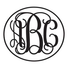 Monogram Sticker with Vine Font and Circle Outline