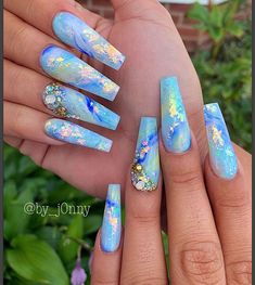 In coffin nails are still trendy for fashionable girls!If you don& want to miss the exciting and popular coffin nail trendy ideas ,please check the latest 45 coffin Nails Art Designs trendy in 2020 we collect for you. Long Nail Designs, Acrylic Nail Designs, Nail Art Designs, Nails Design, Aycrlic Nails, Bling Nails, Coffin Nails, Bling Nail Art, Glitter Nails
