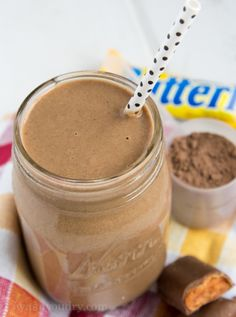 Butterfinger Protein Shake | Ingredients: 1 cup milk (any kind will work)1 cup cold water1 cup ice cubes1 scoop chocolate protein powder1 (large) tbsp peanut butter1 tbsp sugar free Butterscotch instant pudding mix. | Instructions: Combine all ingredients in a blender and process until well blended (about 1 minute).Enjoy right away.