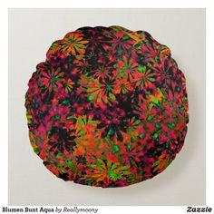 Blumen Bunt Aqua Rundes Kissen Designs, Bunt, Aqua, Tableware, Round Cushions, Welcome Home, Water, Dinnerware, Tablewares