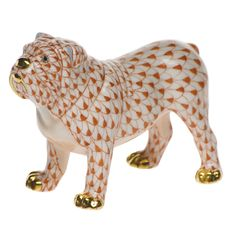 Herend Hand Painted Porcelain Figurine of Standing Bulldog, Rust Fishnet w Gold Accents.