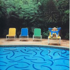 David Hockney by his pool, Architectural Digest Magazine 1983