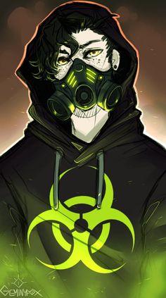 Toxic (speedpaint) by GeminyfoX Dark Anime Guys, M Anime, Cute Anime Guys, Anime Demon, Anime Art, Arte Cyberpunk, Gas Mask Art, Masks Art, Graffiti Wallpaper