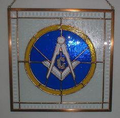 Masonic Stained Glass Art Masonic Art, Masonic Lodge, Masonic Symbols, Stained Glass Panels, Stained Glass Art, Freemasons History, Eastern Star, Freemasonry, Knights Templar
