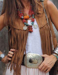 My tenida, falda larga y chaleco de flecos bohemian, tassels, hair makeup, Hippie Chic, Hippie Style, Bohemian Mode, Gypsy Style, Bohemian Style, Hippie Masa, Modern Hippie, Bohemian Gypsy, Boho Outfits