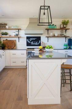 Modern Farmhouse Kitchen Cabinet Decor Ideas - Page 15 of 35 Kitchen Ikea, Kitchen Cabinets Decor, Farmhouse Kitchen Cabinets, Cabinet Decor, Farmhouse Style Kitchen, Modern Farmhouse Kitchens, Home Decor Kitchen, Kitchen Flooring, Home Kitchens