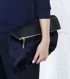 Folded Clutch Bag navy blue & gold, style simplicity