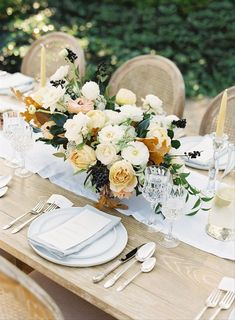 21 Fall Wedding Color Palettes That Are Totally Modern - Having an autumnal wedding is all about bringing a sense of coziness and richness to your big day. These fall wedding colors will do just the trick! modern fall wedding tablescape with yellow rose centerpiece and pale blue table runner {Wild Green Yonder} Fall Wedding Bridesmaids, Fall Wedding Bouquets, Fall Wedding Flowers, Fall Wedding Colors, Floral Wedding, Rustic Wedding, Wedding Reception, Wedding Ideas, Wedding Crafts