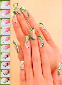 Image via   Beautiful  bunny  on  green  grass , manicure for girls .   Image via   Beautiful green nail art design for St. Patrick.