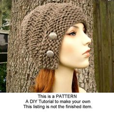 Instant Download Knitting Pattern - Knit Hat Knitting Pattern - Knit Hat Pattern for Hybrid Swirl Cloche Hat - Winter Accessories