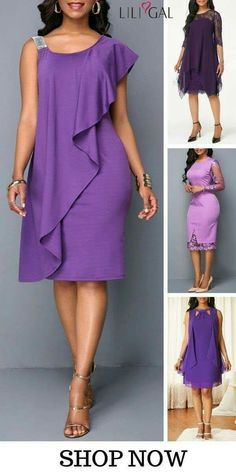 Shop Liligal for all your spring summer holiday wardrobe needs and find an elegant purple chiffon dress with lace panel, sleeveless, and overlay details, that' Mode Outfits, Dress Outfits, Fashion Outfits, Elegant Dresses, Casual Dresses, Club Party Dresses, African Fashion Dresses, Classy Dress, Purple Dress