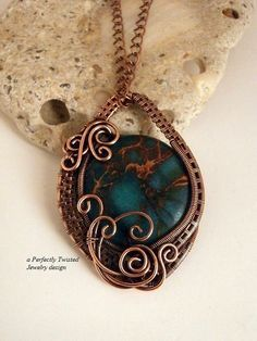 Wire Wrapped Pendant Necklace Colored Jasper by PerfectlyTwisted